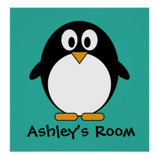 cute penguin kid's door poster