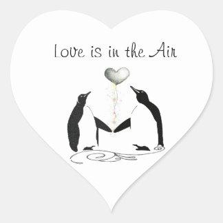 Cute Penguin Love Birds Heart Stickers