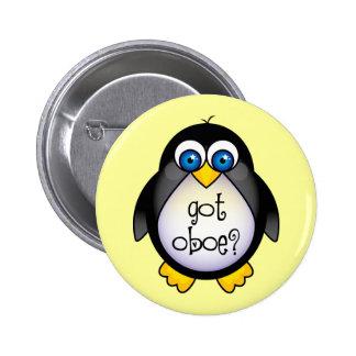 Cute Penguin Music Got Oboe 6 Cm Round Badge