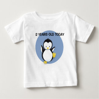 Cute Penguin on Blue Personalized Birthday Shirt