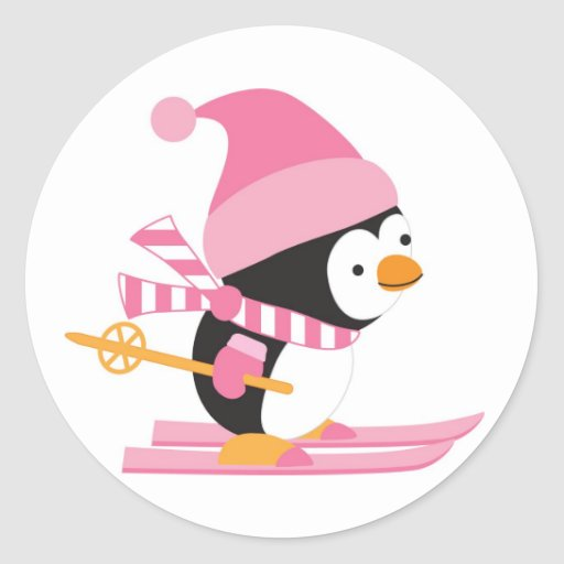 Cute Penguin on Snow Skis Round Sticker