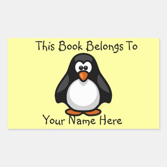 Cute Penguin on Yellow Book Name Plate Rectangular