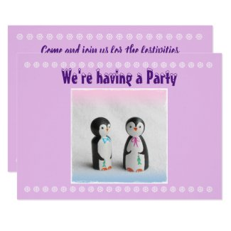 Cute Penguin Party Invitation