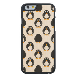 Cute Penguin Pattern Carved Maple iPhone 6 Case