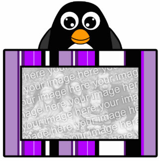 Cute Penguin Photo Sculpture Purple Stripes Frame