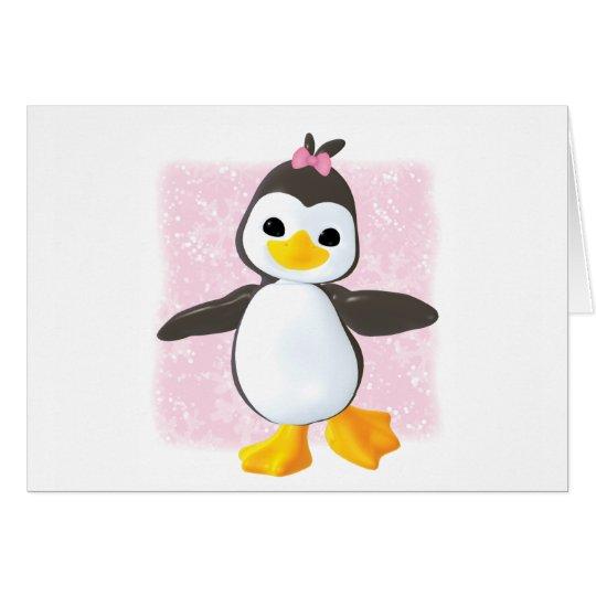 Cute Penguin Pink Card