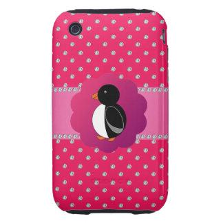 Cute penguin pink diamonds tough iPhone 3 case