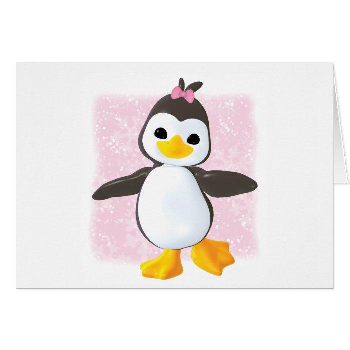 Cute Penguin Pink Note Card