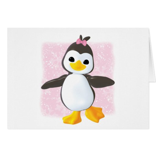 Cute Penguin Pink Stationery Note Card