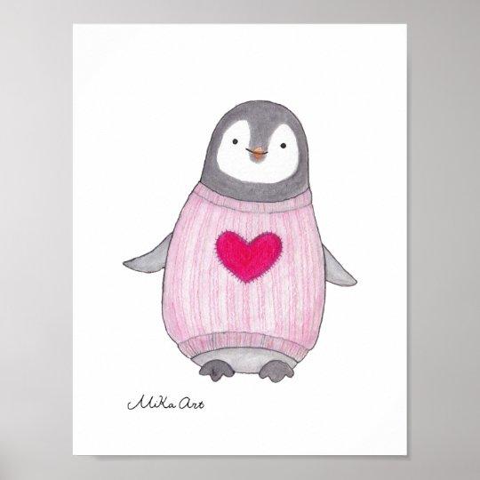 Cute Penguin Poster Penguin Painting Nursery Art