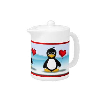 Cute Penguin Red Heart Balloon - Teapot