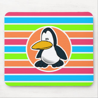 Cute Penguin Retro Neon Rainbow Mouse Pads