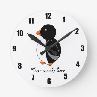 Cute penguin round clock
