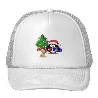 Cute Penguin Santa and Reindeer Dog Trucker Hats