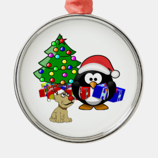 Cute Penguin Santa and Reindeer Dog Silver-Colored Round Decoration