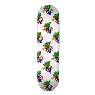 Cute Penguin Santa and Reindeer Dog Skate Board
