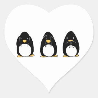 Cute Penguin See Speak Hear No Evil Heart Sticker