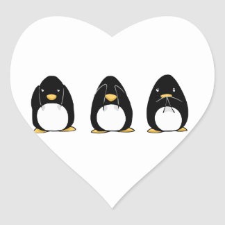 Cute Penguin See Speak Hear No Evil Heart Sticker