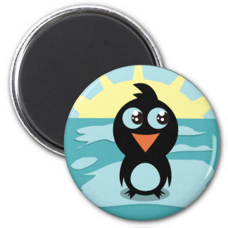 Cute Penguin Standing on Ice 6 Cm Round Magnet