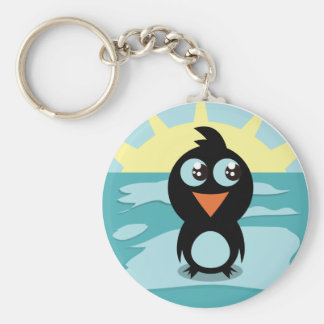 Cute Penguin Standing on Ice Key Ring