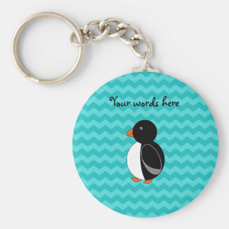 Cute penguin turquoise chevrons basic round button key ring
