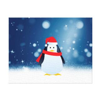 Cute Penguin w Red Santa Hat Christmas Snow Stars Canvas Print
