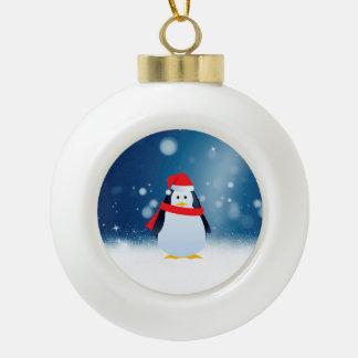 Cute Penguin w Red Santa Hat Christmas Snow Stars Ceramic Ball Christmas Ornament