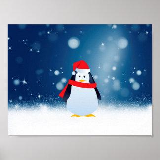 Cute Penguin w Red Santa Hat Christmas Snow Stars Poster