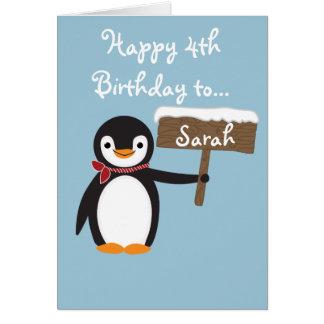 Cute Penguin Wearing Scarf Design Card