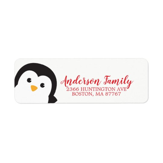 Cute Penguin Winter Holiday Address Label