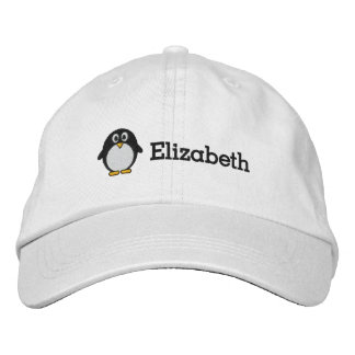 Cute Penguin with Custom Name Embroidered Cap