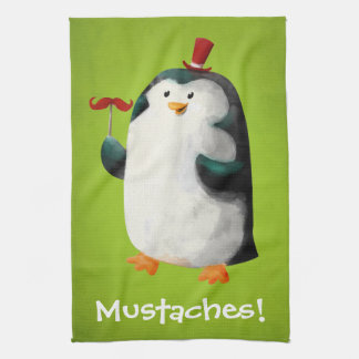 Cute Penguin with Mustaches Tea Towel