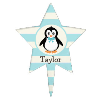 Cute Penguin with Turquoise Bowtie Cake Picks