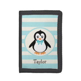 Cute Penguin with Turquoise Bowtie Trifold Wallet
