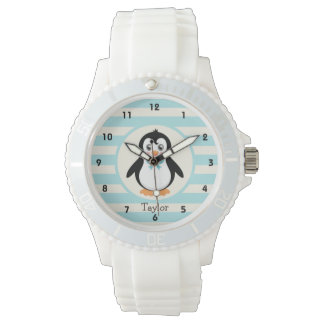 Cute Penguin with Turquoise Bowtie Wrist Watch