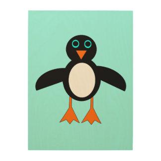 Cute Penguin Wood Canvas