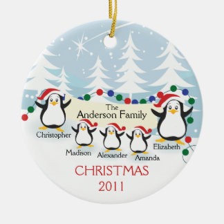 Cute Penguins Family of 5 Christmas Ornament