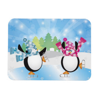Cute Penguins Figure Ice Skating Magnet