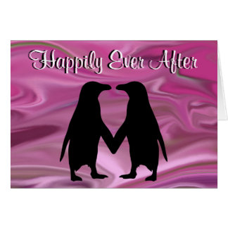 Cute penguins holding hands greeting card