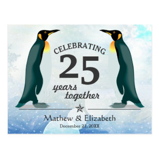 Cute Penguins in Snow | 25th Wedding Anniversary Postcard