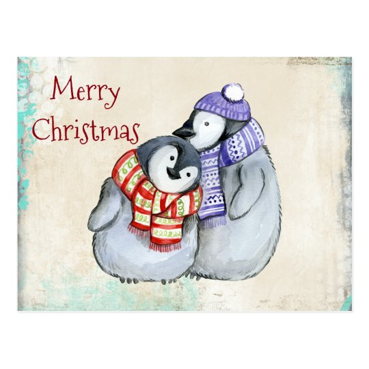 Cute Penguins in Winter Scarves and Hats Christmas