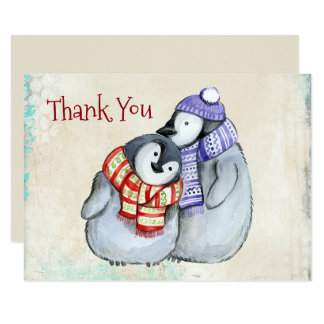 Cute Penguins in Winter Scarves and Hats Thank You Card