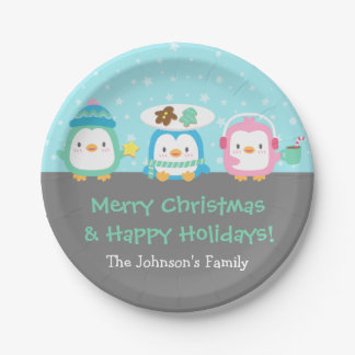 Cute Penguins Merry Christmas Party Supplies Paper Plate