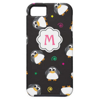Cute Penguins Pattern with Monogram iPhone 5 Cases
