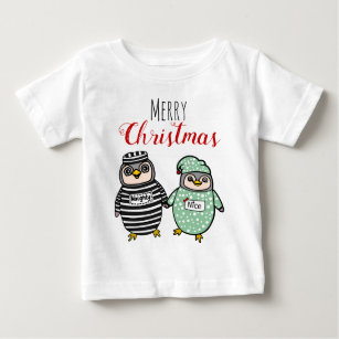 5237749ac Cute Penguins | Personalized Name Merry Christmas Baby T-Shirt