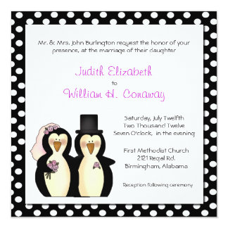 Cute Penguins Wedding Invitation