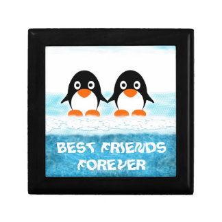 Cute Penquin On Iceberg Box-Best Friends Small Square Gift Box