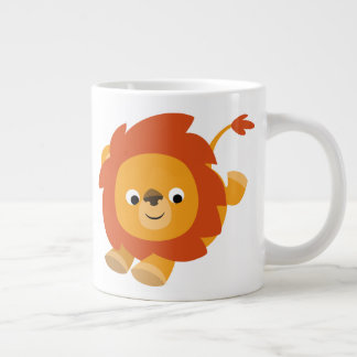 Cute Perky Cartoon Lion Giant Coffee Mug