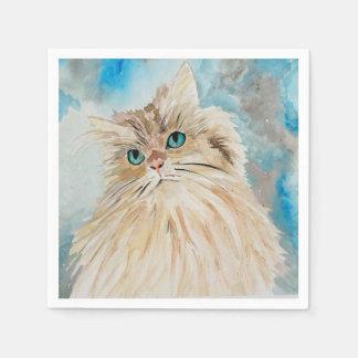 Cute Persian Cat Watercolor Art Paper Napkins