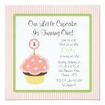 Cute Personalise Pink Cupcake Birthday Invitations